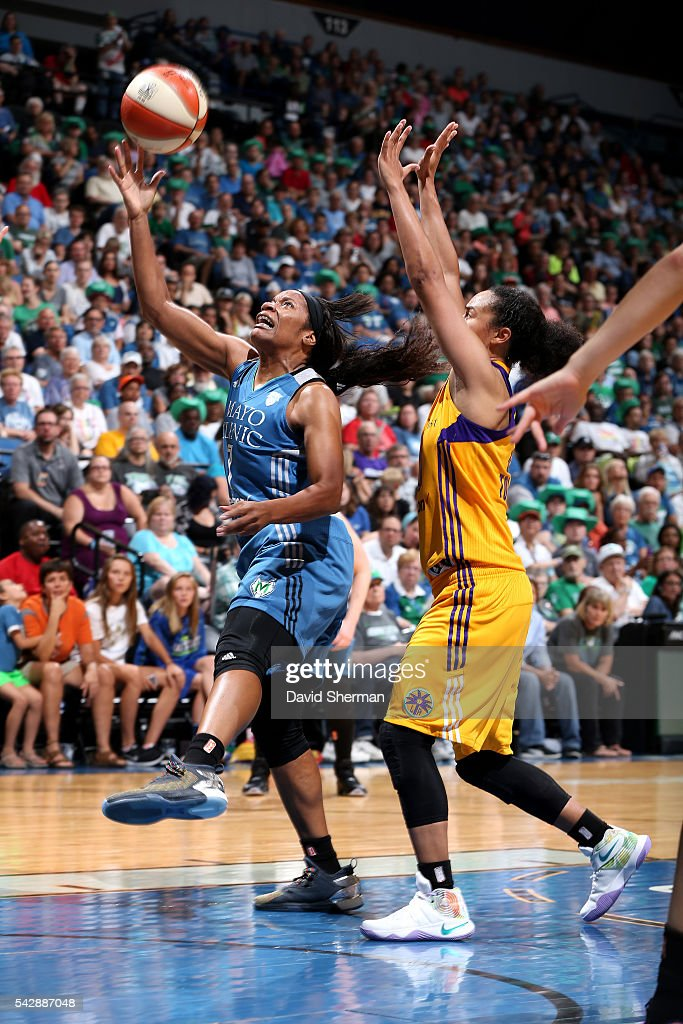 <a gi-track='captionPersonalityLinkClicked' href=/galleries/search?phrase=Jia+Perkins&family=editorial&specificpeople=544628 ng-click='$event.stopPropagation()'>Jia Perkins</a> #7 of the Minnesota Lynx shoots a lay up during the game against the Los Angeles Sparks during the WNBA game on June 24, 2016 at Target Center in Minneapolis, Minnesota.