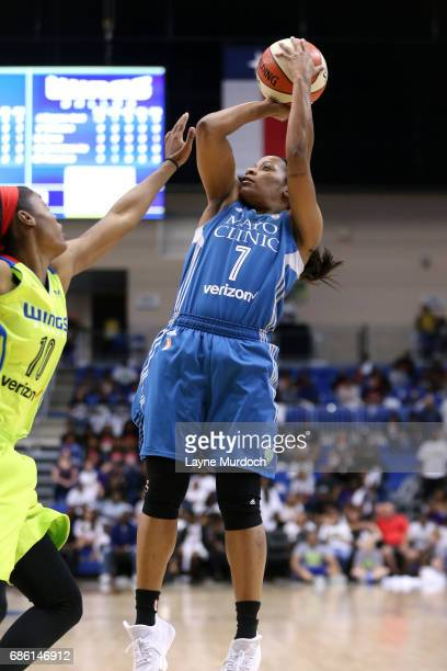 Jia Perkins of the Minnesota Lynx shoots the ball during the game against the Dallas Wings in a WNBA game on May 20 2017 at College Park Center in...