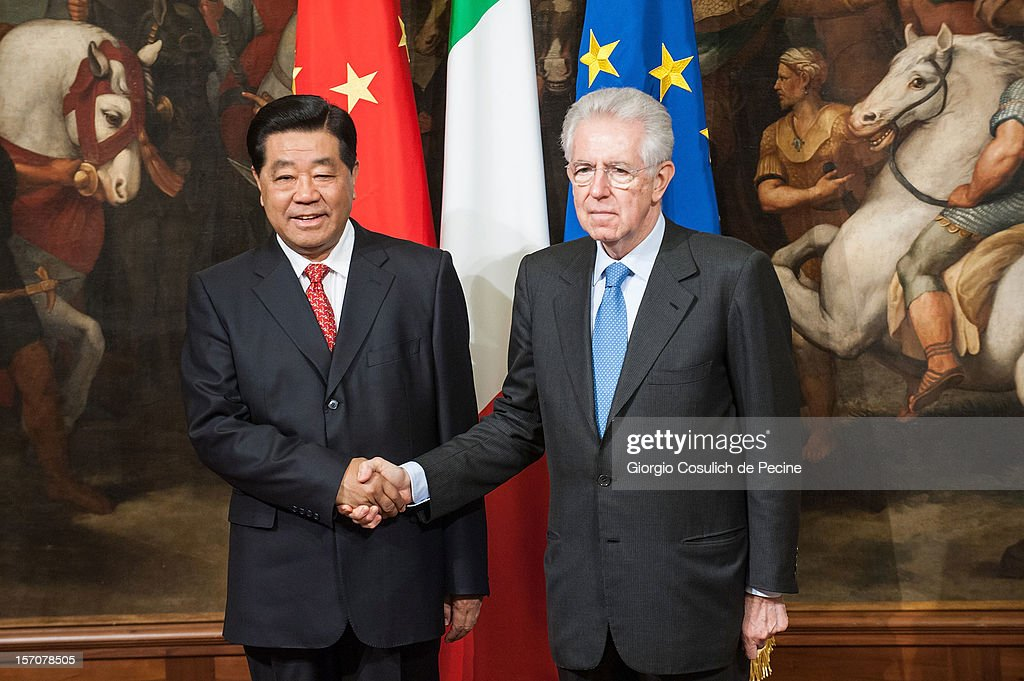 Mario Monti Meets Jia Qinglin, Chairman of the National Committee of the Chinese People's Political Consultative Conference