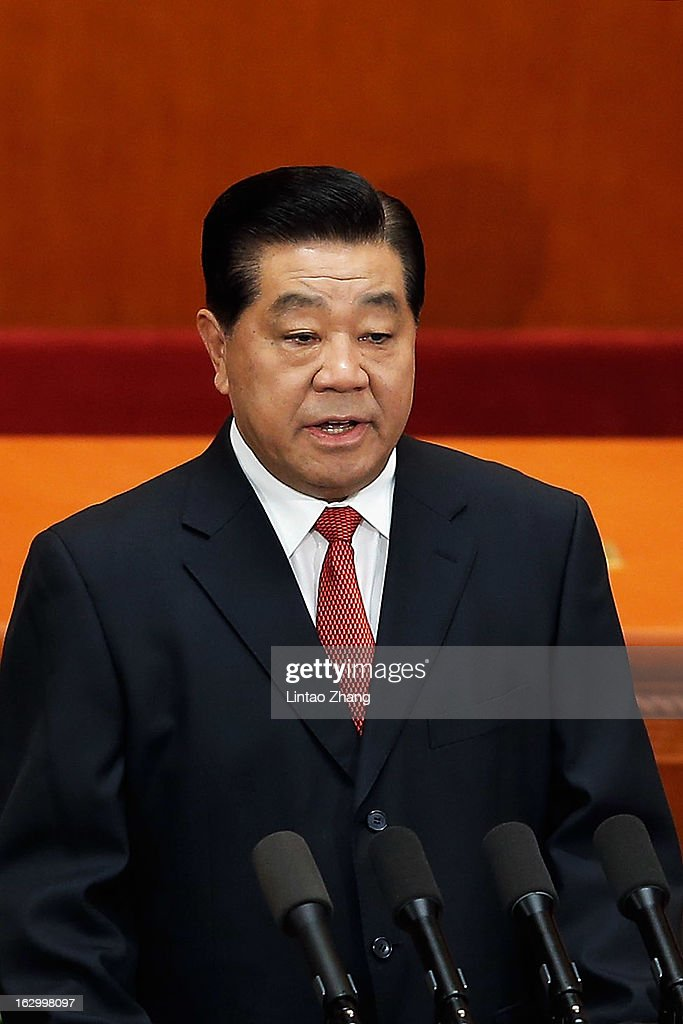 <a gi-track='captionPersonalityLinkClicked' href=/galleries/search?phrase=Jia+Qinglin&family=editorial&specificpeople=687988 ng-click='$event.stopPropagation()'>Jia Qinglin</a>, Chairman of the National Committee of the Chinese People's Political Consultative Conference delivers a speech at the opening session of the Chinese People's Political Consultative Conference at the Great Hall of the People on March 3, 2013 in Beijing, China. Over 2000 members of the 12th National Committee of the Chinese People's Political Consultative, a political advisory body, are attending the annual session, during which they will discuss the development of China.