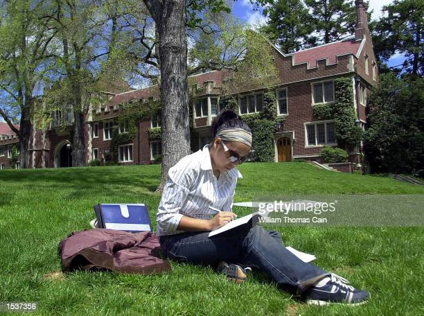 Jia Shen a student of Chinese descent from Winnipeg Canada does homework for her Chinese Cinema class on the campus of Princeton University April 23...