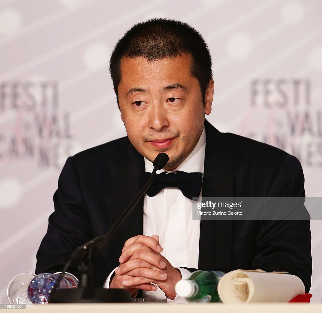 Jia Zhangke of 'Tian Zhu Ding' ('A Touch of Sin'), awarned for the best screenplay award speaks at the Palme D'Or Winners Press Conference during the 66th Annual Cannes Film Festival at the Palais des Festivals on May 26, 2013 in Cannes, France.