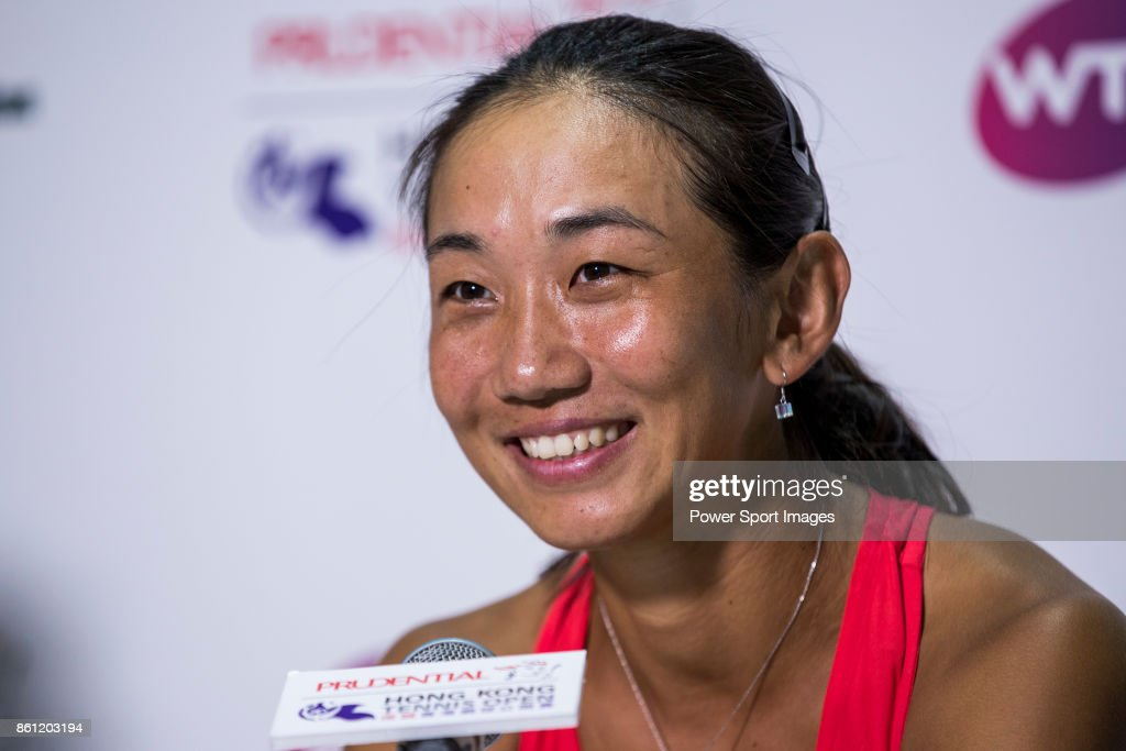 Jia-Jing Lu of China talks during the press conference of Prudential Hong Kong Tennis Open 2017 after the womenÕs doubles semi-final match between Jia-Jing Lu of China and Qiang Wang of China, and Monique Adamczak of Australia and Kai-Chen Chang of Taiwan at Victoria Park on October 14, 2017 in Hong Kong, Hong Kong.