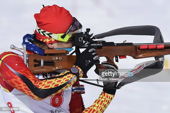 Jialin Tang of China competes in the women's biathlon 10 km pursuit on day seven of the 2017 Sapporo Asian Winter Games at Nishioka Biathlon Stadium...