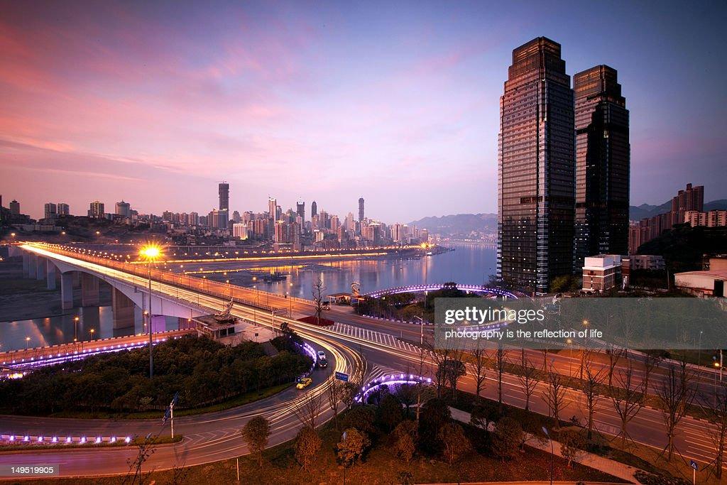 Jialing bridge at dusk