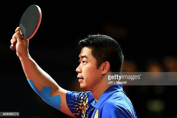 Jian Zhan of Singapore celebrates against Ning Gao of Singapore in the Men's Singles Gold Medal Match at Scotstoun Sports Campus during day ten of...