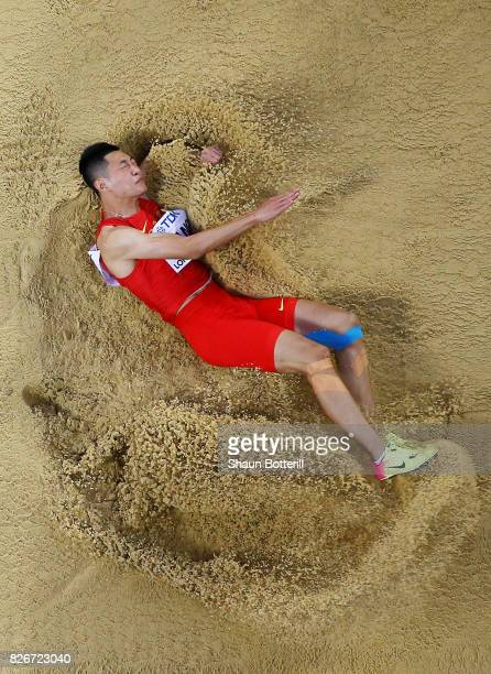 Jianan Wang of China competes in the Men's Long Jump final during day two of the 16th IAAF World Athletics Championships London 2017 at The London...