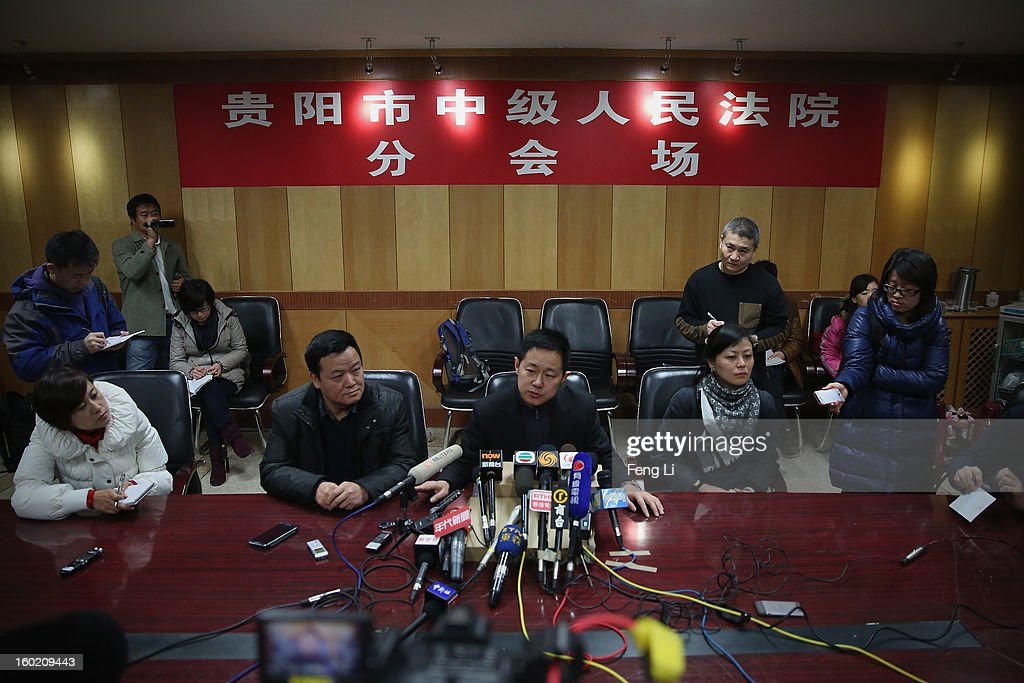Jiang Hao (Center), Vice-president of Guiyang Intermediate People's Court attends a press conference on former Chinese leader Bo Xilai's case on January 28, 2013 in Guiyang, China. 'It is fake information. The trial of Bo Xilai will not open in Guiyang today', Jiang Hao said. The trial of Bo Xilai is expected to open after the 'two sessions' in March, China's official newspaper Global Times reports on Monday.