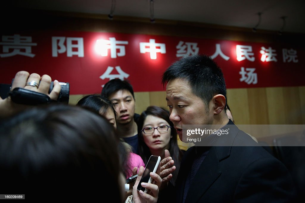 Jiang Hao (Right), Vice-president of Guiyang Intermediate People's Court attends a press conference on former Chinese leader Bo Xilai's case on January 28, 2013 in Guiyang, China. 'It is fake information. The trial of Bo Xilai will not open in Guiyang today', Jiang Hao said. The trial of Bo Xilai is expected to open after the 'two sessions' in March, China's official newspaper Global Times reports on Monday.