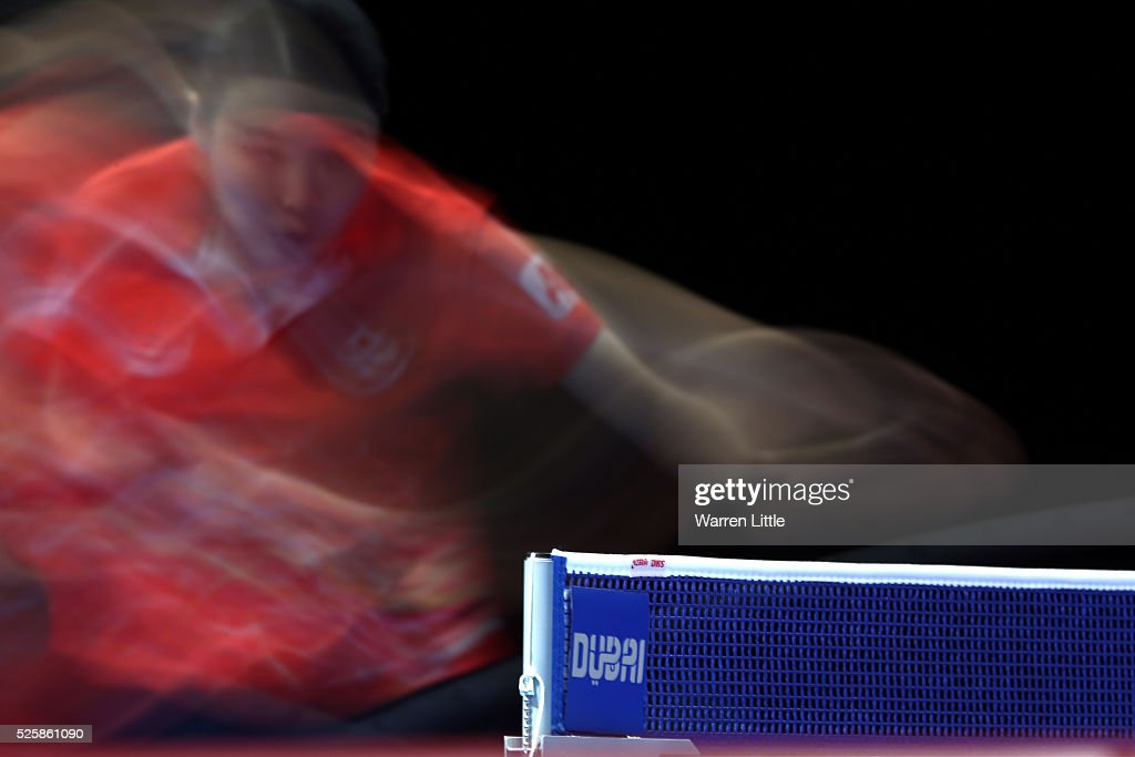Jiang Huajun of Hong Kong in action in the Women's Singles Challenge against Manika Batra of India during day two of the Nakheel Table Tennis Asian Cup 2016 at Dubai World Trade Centre on April 29, 2016 in Dubai, United Arab Emirates.
