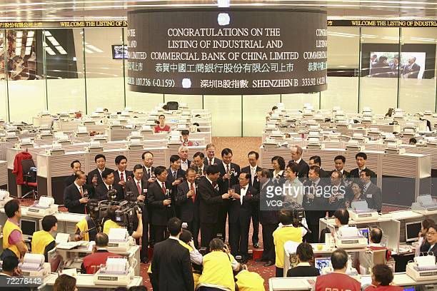 Jiang Jianqing chairman and president of the Industrial and Commercial Bank of China and guests raise their glasses during a ceremony to mark their...