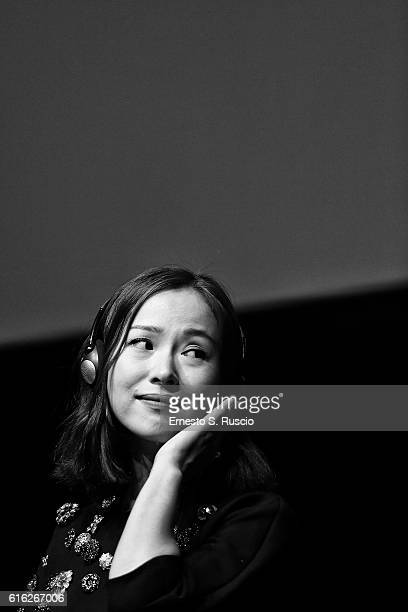 Jiang Yiyan attends a press conference for 'San Shao Ye De Jian Sword Master 3D' during the 11th Rome Film Festival at Auditorium Parco Della Musica...