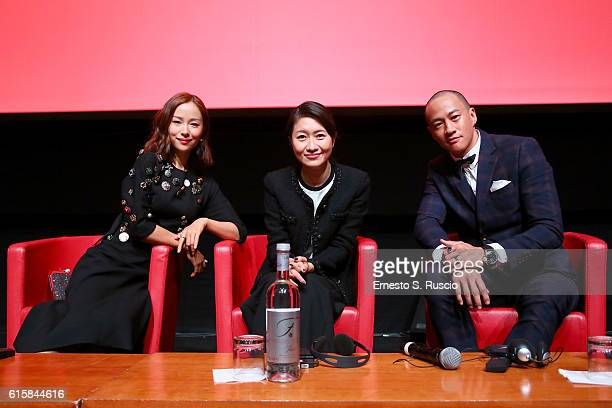 Jiang Yiyan Mandy Law and Peter Yun Tung Ho attend a press conference for 'San Shao Ye De Jian Sword Master 3D' during the 11th Rome Film Festival at...