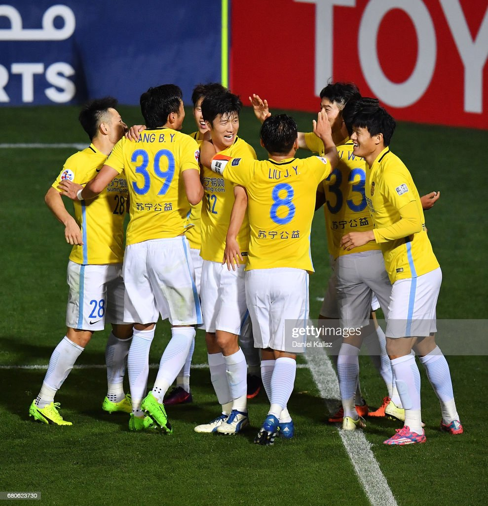 Jiangsu FC celebrate after scoring a goal during the AFC Champions League match between Adelaide United and Jiangsu Sainty at Hindmarsh Stadium on May 9, 2017 in Adelaide, Australia.