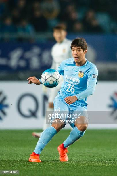 Jiangsu FC Defender Hong Jeongho in action during the AFC Champions League 2017 Group H match between Jiangsu FC vs Adelaide United at the Nanjing...
