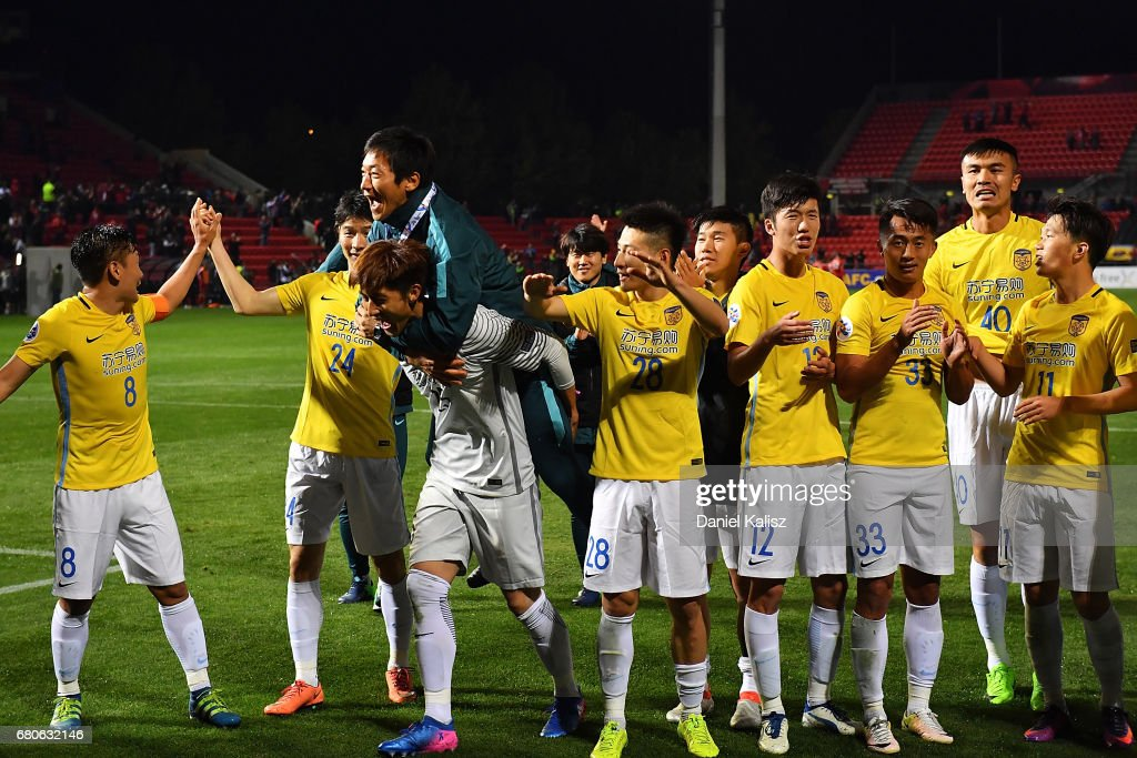 Jiangsu FC players celebrate after the AFC Champions League match between Adelaide United and Jiangsu Sainty at Hindmarsh Stadium on May 9, 2017 in Adelaide, Australia.
