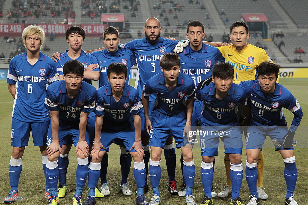 Jiangsu Sainty players line up for a team photo prior to the AFC Champions League match between FC Seoul and Jiangsu Sainty at Seoul World Cup Stadium on February 26, 2013 in Seoul, South Korea.