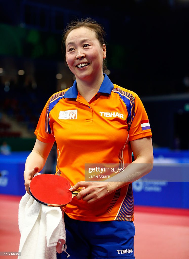 Jiao Li of the Netherlands smiles after defeating Jie Li of the Netherlands to win the gold medal in the Women's Table Tennis Finals during day seven of the Baku 2015 European Games at the Baku Sports Hall on June 19, 2015 in Baku, Azerbaijan.