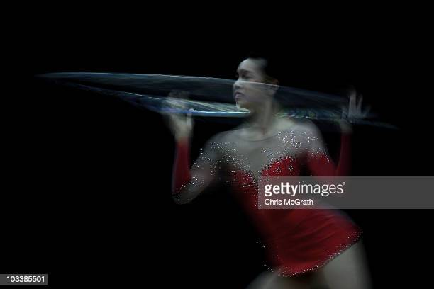 JiaShyuan Su competes during the Rhythmic AllAround competition on day three of the 2010 Visa Gymnastics Championships at Chase Arena on August 13...