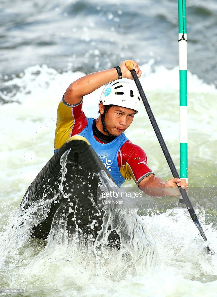 Jiaxi Huang of China competes in the Men's Canoe during day four of the Australian Youth Olympic Festival at the Penrith White Water Stadium on January 19, 2013 in Sydney, Australia.