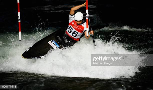 Jiaxin Zheng of China competes during the Canoe Single Men's Qualification of the ICF Canoe Slalom World Cup on June 23 2017 in Augsburg Germany