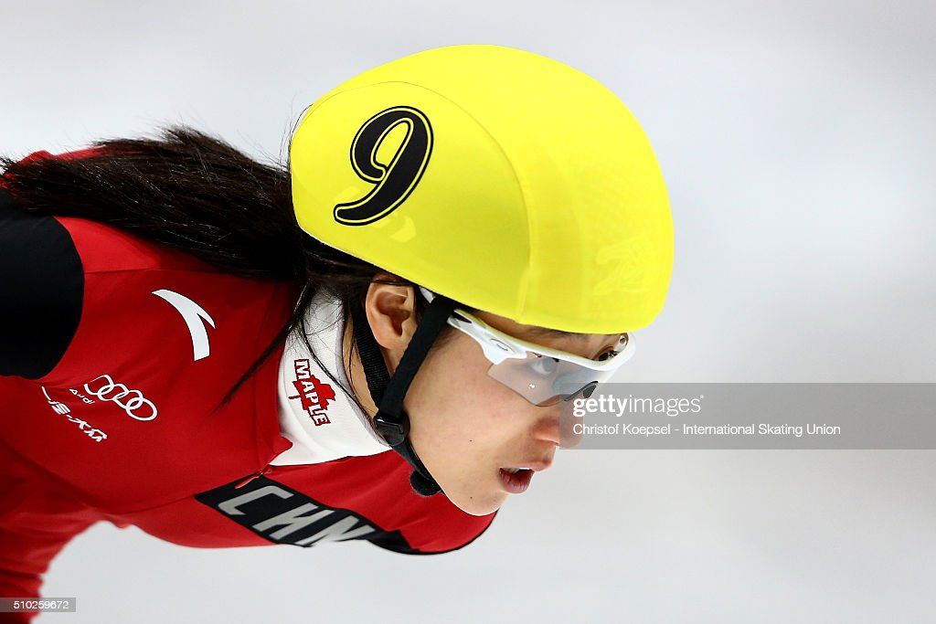 Jiaying Tao of China skates during ladies 1000m semifinal second race heat one during Day 3 of ISU Short Track World Cup at Sportboulevard on February 14, 2016 in Dordrecht, Netherlands.