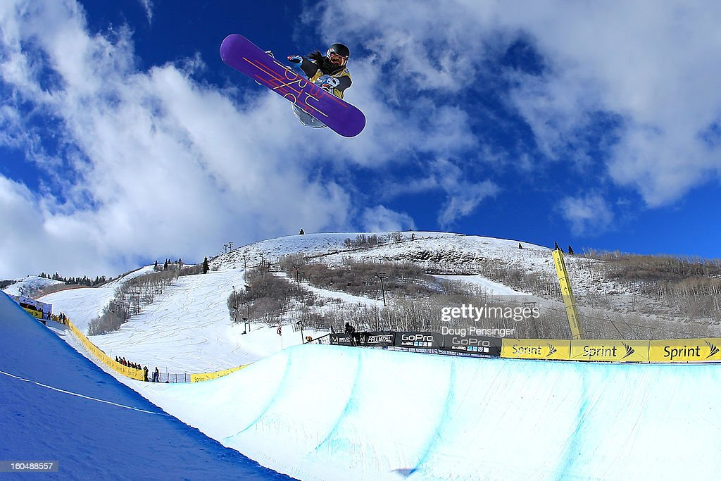 Jiayu Liu of China soars above the pipe as she won the FIS Snowboard Halfpipe World Cup at the Sprint U.S. Grand Prix at Park City Mountain on February 1, 2013 in Park City, Utah.