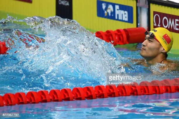 Jiayu Xu of China celebrates winning the gold medal during theMen's 100m Backstroke final on day twelve of the Budapest 2017 FINA World Championships...