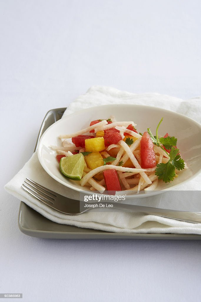 jicama and melon salad : Stock Photo