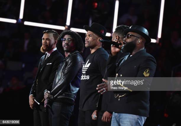 Jidenna Daveed Diggs Darryl 'DMC' McDaniels Michael B Jordan and Tariq 'Black Thought' Trotter perform before the 66th NBA AllStar Game at Smoothie...