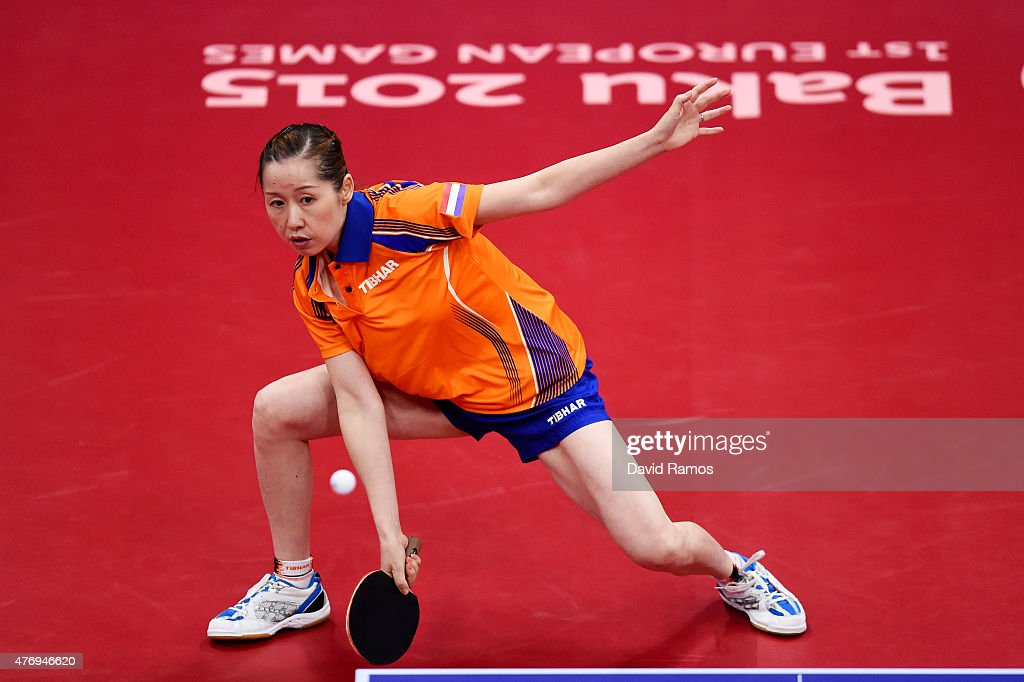 Jie Li of Netherlands competes in the Women's Table Tennis first round match against Anamaria Erdelji of Serbia during day one of the Baku 2015 European Games at Baku Sports Hall on June 13, 2015 in Baku, Azerbaijan.