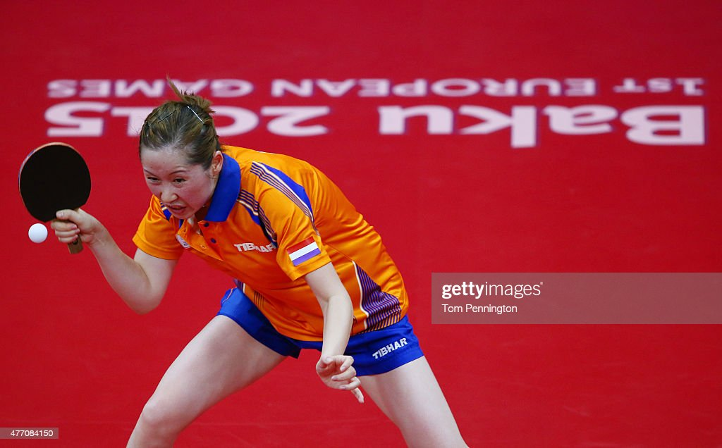 Jie Li of Netherlands competes in the Women's Team Table Tennis quarter final match against Natalia Partyka of Poland during day two of the Baku 2015 European Games at Baku Sports Hall on June 14, 2015 in Baku, Azerbaijan.