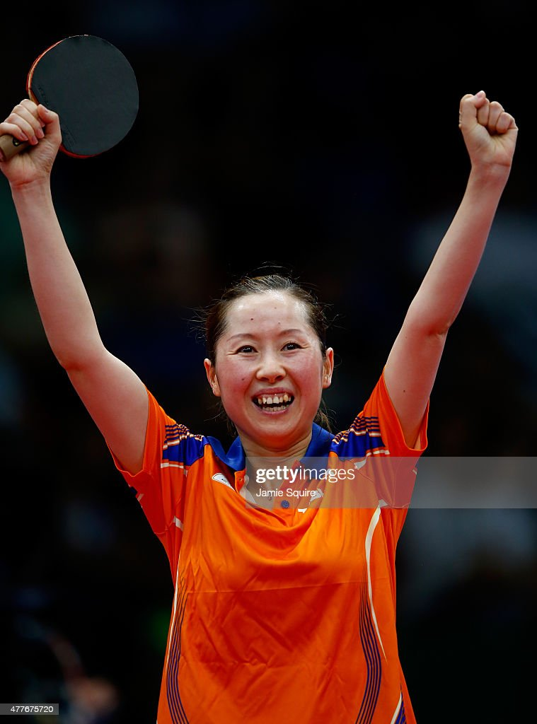 Jie Li of the Netherlands celebrates after defeating Eva Odorova of Slovakia in the Women's Table Tennis Semifinals during day seven of the Baku 2015 European Games at the Baku Sports Hall on June 19, 2015 in Baku, Azerbaijan.