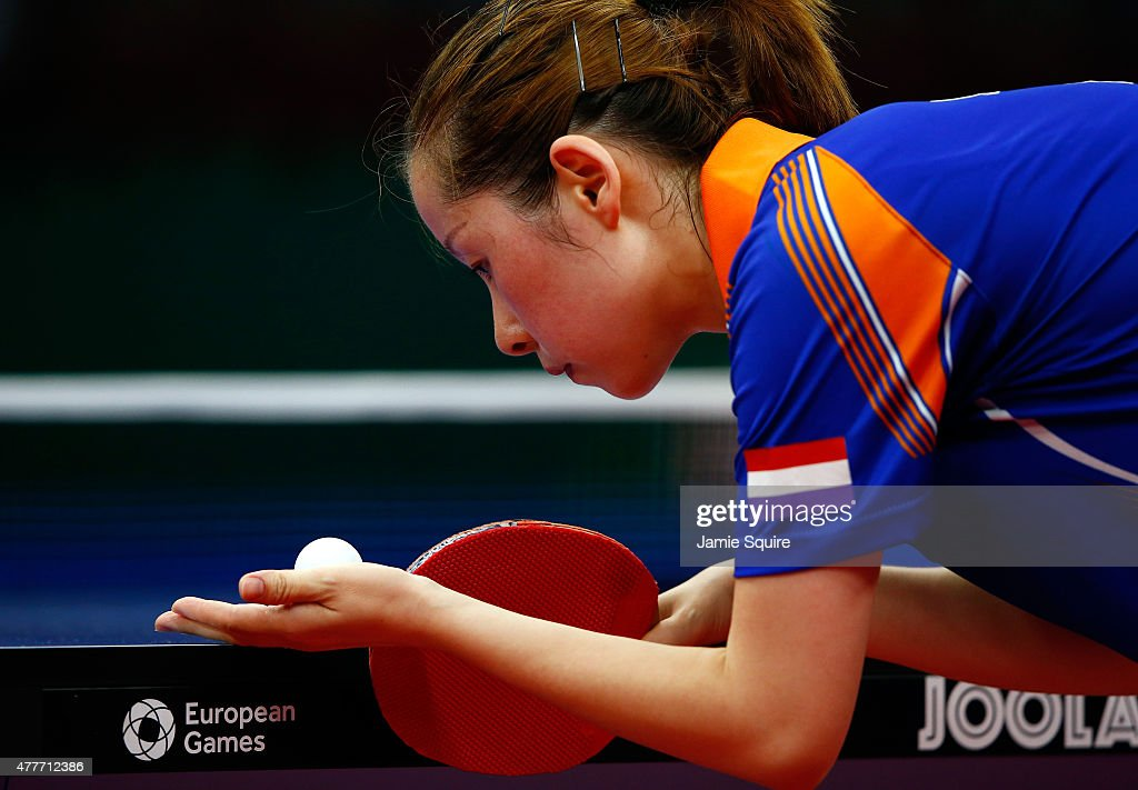 Jie Li of the Netherlands competes against Jiao Li of the Netherlands in the Women's Table Tennis Finals during day seven of the Baku 2015 European Games at the Baku Sports Hall on June 19, 2015 in Baku, Azerbaijan.