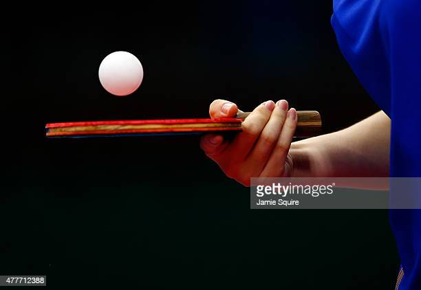 Jie Li of the Netherlands competes against Jiao Li of the Netherlands in the Women's Table Tennis Finals during day seven of the Baku 2015 European...