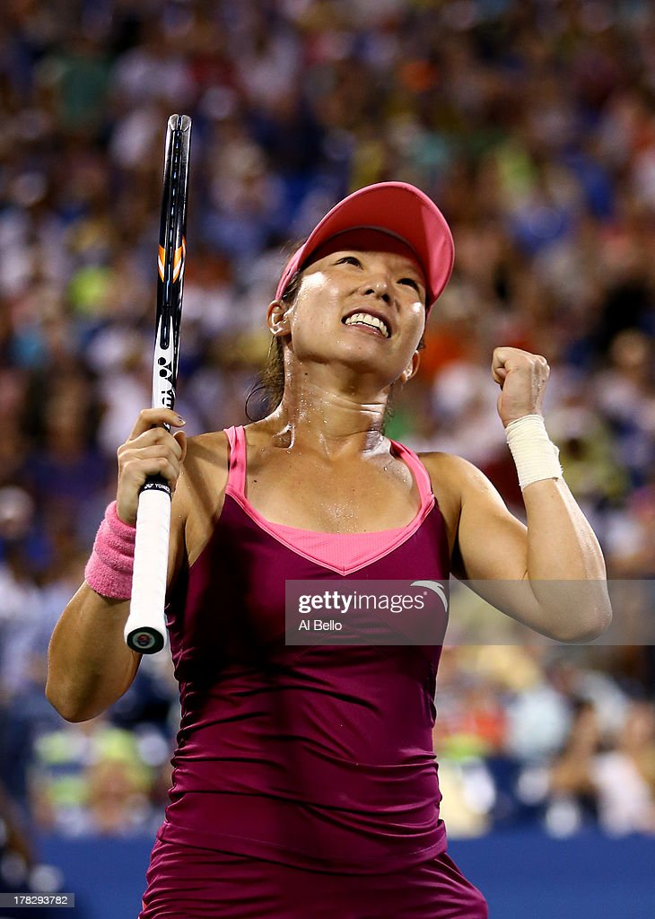 <a gi-track='captionPersonalityLinkClicked' href=/galleries/search?phrase=Jie+Zheng&family=editorial&specificpeople=193822 ng-click='$event.stopPropagation()'>Jie Zheng</a> of China celebrates match point against Venus Williams of the United States of America during their woman's singles second round match on Day Three of the 2013 US Open at USTA Billie Jean King National Tennis Center on August 28, 2013 in the Flushing neighborhood of the Queens borough of New York City.