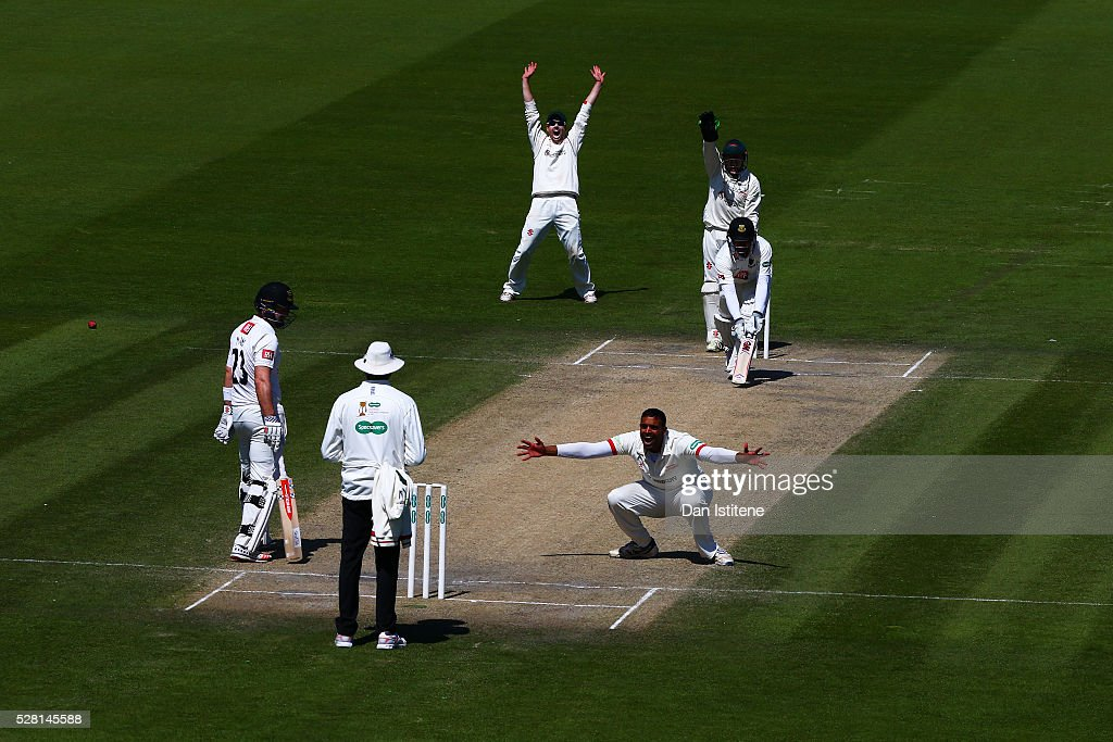 Jigar Naik of Leicestershire appeals unsuccessfully for the wicket of <a gi-track='captionPersonalityLinkClicked' href=/galleries/search?phrase=Ross+Taylor&family=editorial&specificpeople=845922 ng-click='$event.stopPropagation()'>Ross Taylor</a> of Sussex during the Specsavers County Championship Division Two match between Sussex and Leicestershire at The 1st Central County Ground on May 4, 2016 in Hove, England.