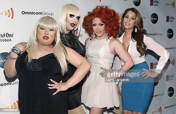 Jiggly Caiente Mimi Imfurst Phi Phi O'hara and Carmen Carrera attend the 2012 GLAAD Amplifier Awards at XL Nightclub on October 2 2012 in New York...