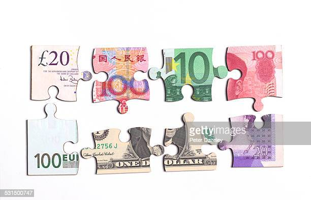 Jigsaw banknote pieces