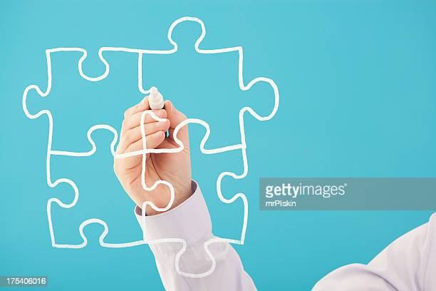 Puzzle œuvres réalisées à la main sur l'écran