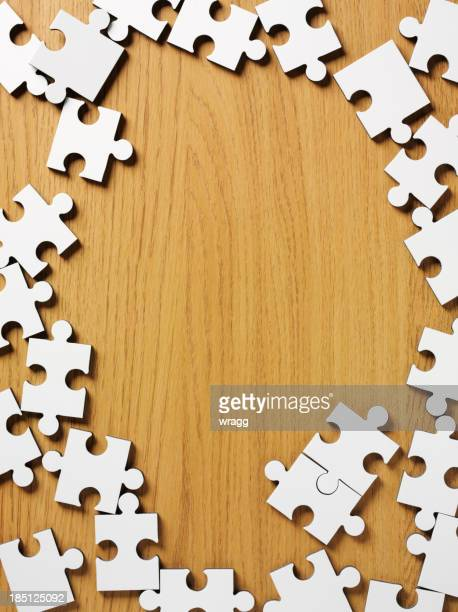 Jigsaw Puzzle Frame on Wood