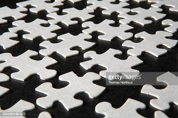 Jigsaw puzzle pieces, elevated view
