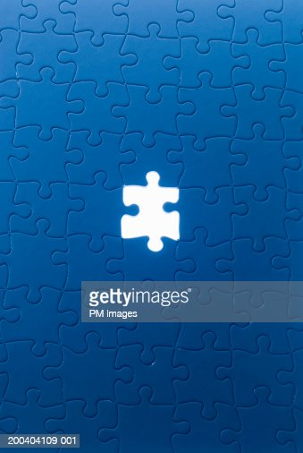 Jigsaw puzzle with piece missing : ストックフォト