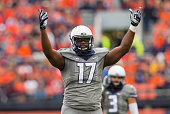Jihad Ward of the Illinois Fighting Illini motions to the crowd during the game against the Wisconsin Badgers at Memorial Stadium on October 24 2015...