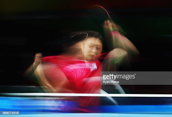 Jihee Jeon of Korea plays a backhand during the Table Tennis Women's Team Quarter Final Match between Singapore and Republic of Korea during Day 8 of...