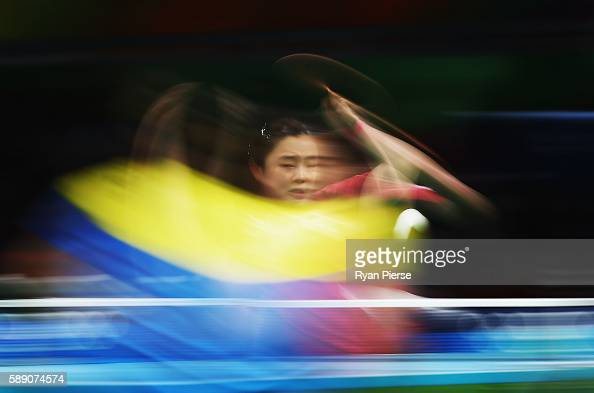 Jihee Jeon of Korea plays a forehand during the Table Tennis Women's Team Quarter Final Match between Singapore and Republic of Korea during Day 8 of...