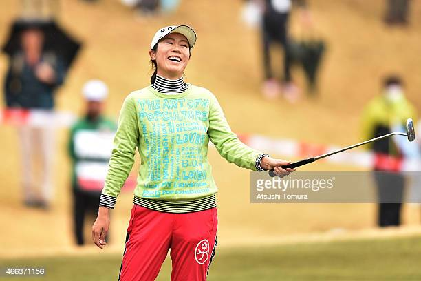 JiHee Lee of South Korea celebrates on the 18th green after winning the playoff during the final round of the Yokohama Tyre PRGR Ladies Cup at the...
