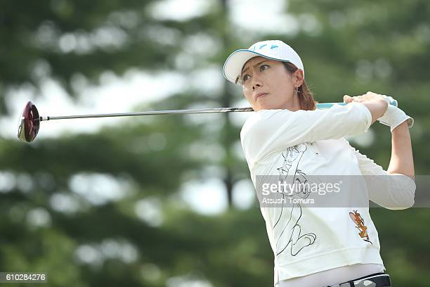 JiHee Lee of South Korea hits her tee shot on the 16th hole during the final round of the Miyagi TV Cup Dunlop Ladies Open 2016 at the Rifu Golf Club...