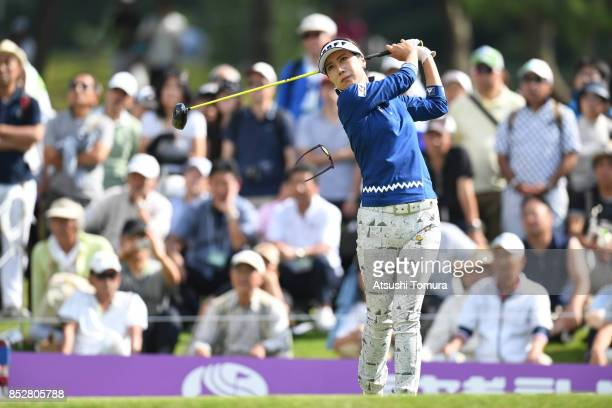 JiHee Lee of South Korea hits her tee shot on the 18th hole during the final round of the Miyagi TV Cup Dunlop Ladies Open 2017 at the Rifu Golf Club...