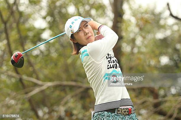 JiHee Lee of South Korea hits her tee shot on the 4th hole during the second round of the TPoint Ladies Golf Tournament at the Wakagi Golf Club on...